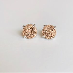 Jewelry - Rose Gold Drusy & Round Silver Stud Earrings